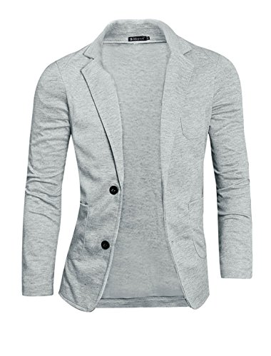 Allegra K Men Notch Lapel Single Breasted Blazer Grey L (Sport Breasted Single Coat)