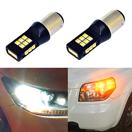 ALLA Lighting 1157 LED Switchback Bulbs Super Bright 2357A BAY15D LED Switchback Dual Color White/Amber Yellow 1157 Bulbs High Power 3035-SMD LED Turn Signal Light Lamp ()