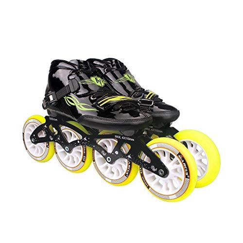 速記要塞アパートNUBAOgy インラインスケート、90-110ミリメートル直径の高弾性PUホイール、4色で利用可能な子供のための調整可能なインラインスケート (色 : Green, サイズ さいず : 36)
