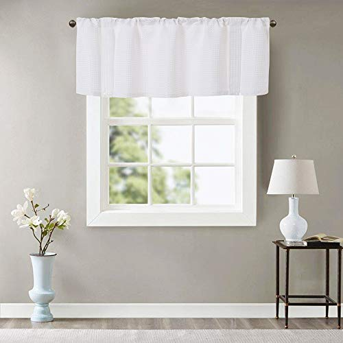 White Valance 16 inches for Kitchen Length Rod Pocket Waffle Weave Textured Window Curtain 1 Panel, White ()