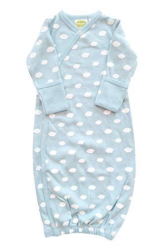 Clouds Print Cotton Nightgown - Parade Organics Kimono Gowns - Signature Prints Little Clouds Blue 3-6 Months