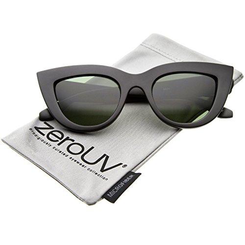 zeroUV - Womens Mod Fashion Bold Rimmed 70s Style Cat Eye Sunglasses (48 Mm Matte)