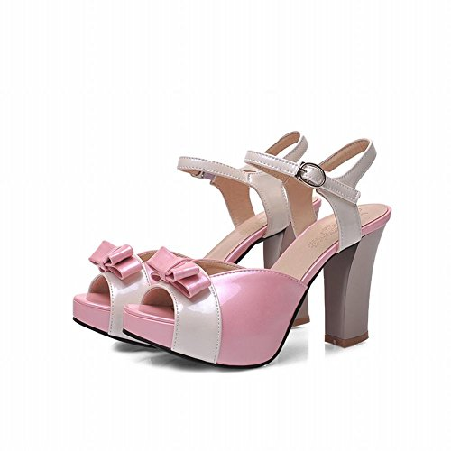 Carol Shoes Women's Sweet Cute High Heel Platform Assorted Colors Bows Sandals Pink t91biCjA