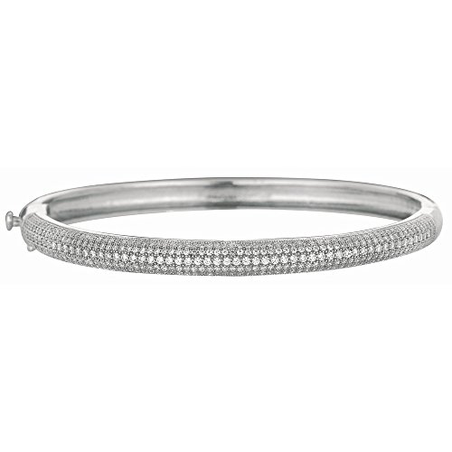 Argent Sterling Rhodium plaqué Micro Pave CZ Bracelet Bangl JewelryWeb 7,5 cm