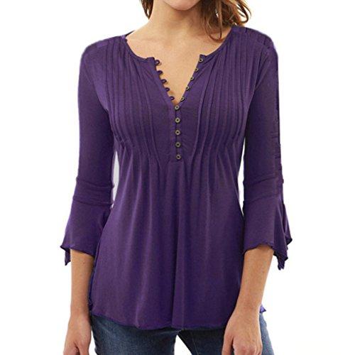 Grande Violet Longues Femme Top HUI Col Chemisier Bouton Longues T Lache Blouse t Haut Manches Femmes V Tunique Mode Classique HUI Shirt Chic Taille w688qxXg