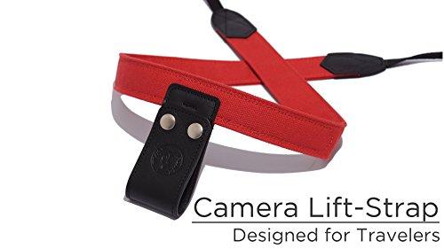 PONTE Camera Lift-Strap, Design for Travelers, Canvas, Firebrick