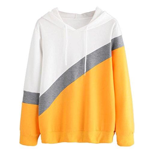 Women Blouse,IEason 2017 Hot Sale! Womens Long Sleeve Hoodie Sweatshirt Hooded Pullover Tops Blouse (M, Yellow) - Sweater Vest Knit Pattern