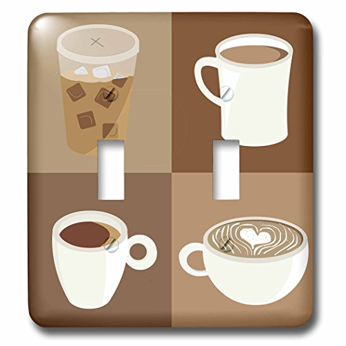 3dRose Janna Salak Designs Food and Drink - All The Coffee - Light Switch Covers - double toggle switch (lsp_283601_2)