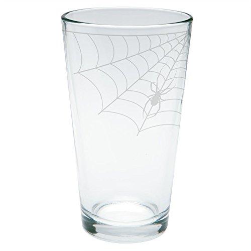 Halloween Corner Spider Web Etched Pint Glass -