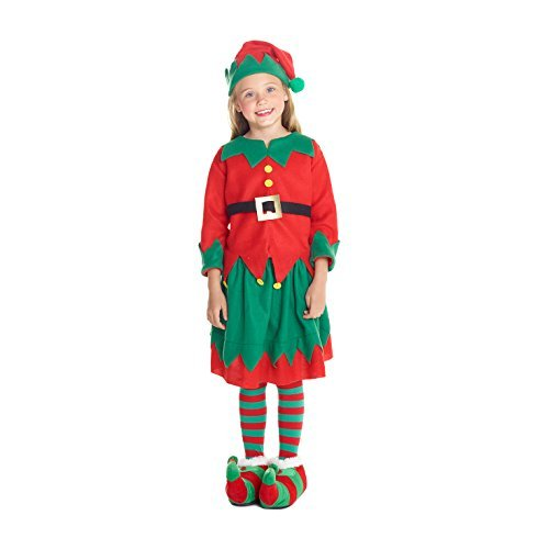 Girls Christmas Elf Costume Toyshop Santas Little Helper Kids Festive Outfit - Medium (Age 6-8) Red