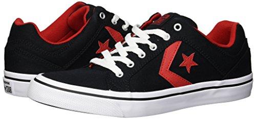 Converse Men's EL Distrito Twill Low Top Sneaker, Black/Enamel Red/White, 9.5 M US