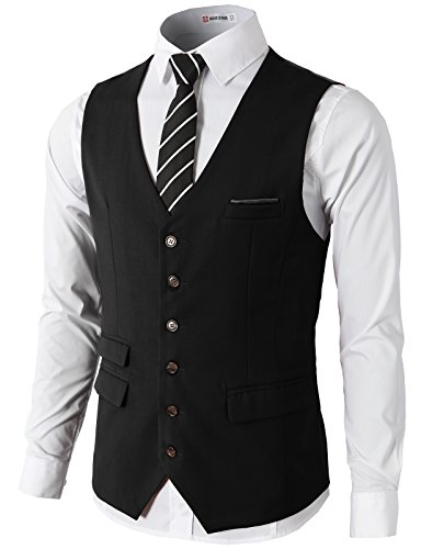 - H2H Mens Formal Slim Fit Premium Business Dress Suit Button Down Vests Black US S/Asia M (CMOV031)