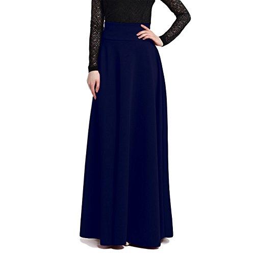 Femmes Maxi de Bleu Jupe Jupes Mode Jupe de Unie Long de en Haute plisse Taille Jupe Couleur Pas Jupe de rid Mode Longue lgant Midi Partie wvwqr