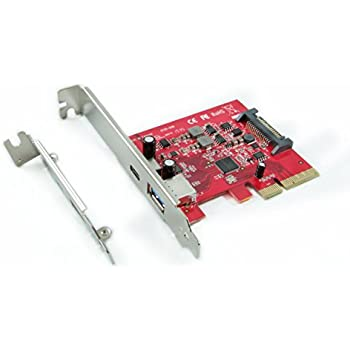 Ableconn PU31-1A1C USB 3.1 Gen 2 (10 Gbps) Type-C & Type-A PCI Express (PCIe) x4 Host Adapter Card - Dual USB3.1 10Gbps with One USB-C and One USB-A