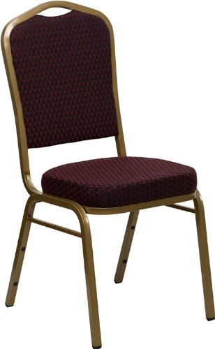 Flash Furniture 4-Pack Hercules Series Crown Back Stacking Banquet Chair with Burgundy Fabric (Series Stacking Chair Burgundy Fabric)