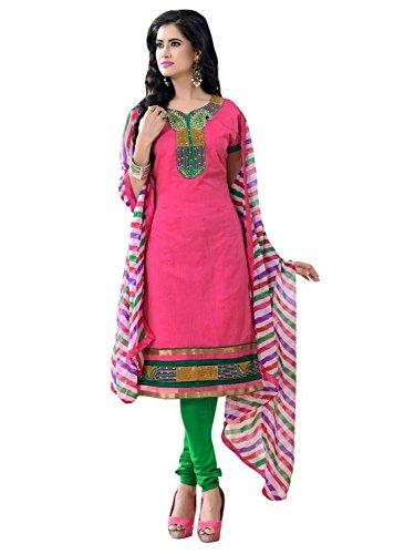 Vibes Women's Silk Salwar Suit Dress Material – Free Size, Pink