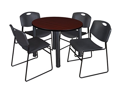 "Kee 36"" Round Breakroom Table- Mahogany/ Black & 4 Zeng Stack Chairs- Black"