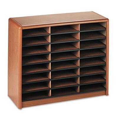 Safco - Steel/Fiberboard Literature Sorter 24 Sections 32 1/4 X 13 1/2 X 25 3/4 Oak ''Product Category: Desk Accessories & Workspace Organizers/Sorters''