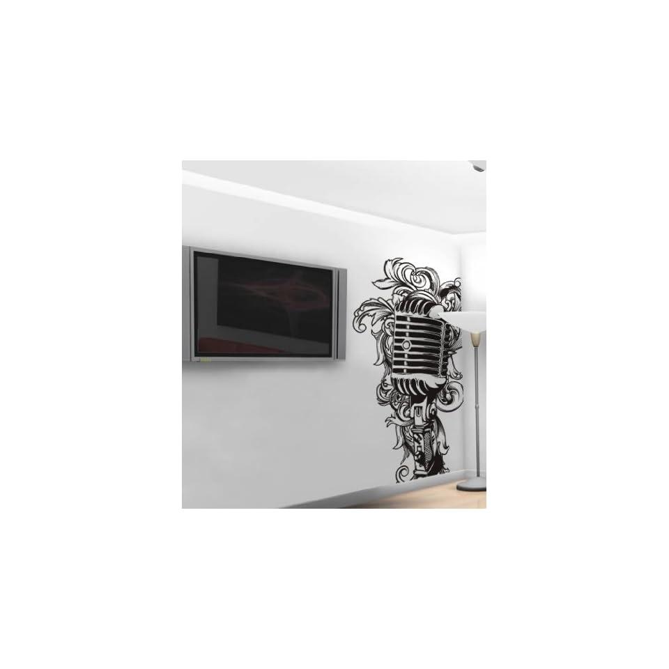 Vinyl Wall Art Decal Sticker DJ Style Microphone Mic 8ft #328