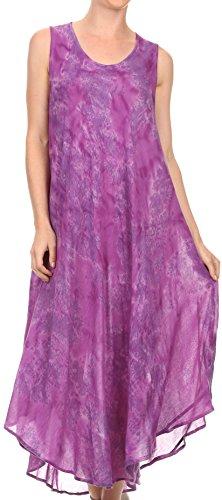 (Sakkas 16801 - Laeila Tie Dye Washed Tall Long Sleeveless Tank Top Caftan Dress/Cover Up - Purple - OS)
