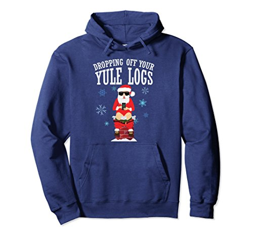 Unisex Santa Dropping off Yule Logs Hilarious Hoodie XL: Navy