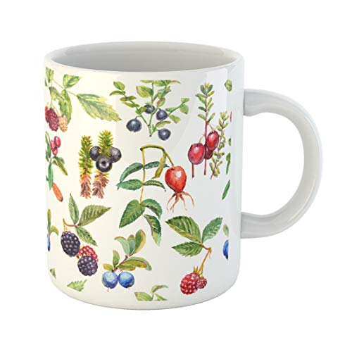- Semtomn Funny Coffee Mug Watercolor Wild Forest Berries Crowberry Dog Rose Blackberry Raspberry 11 Oz Ceramic Coffee Mugs Tea Cup Best Gift Or Souvenir