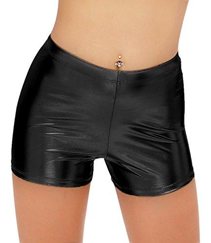 DIAMONDKIT Metallic Rave Booty Dance Shorts (XL, Black) ()