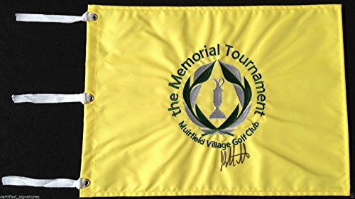 BUBBA WATSON SIGNED MEMORIAL TOURNAMENT GOLF PIN FLAG 2014 MASTERS PROOF COA J2