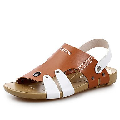 Zapatos de hombre casual sandalias de cuero marrón/amarillo/azul Amarillo