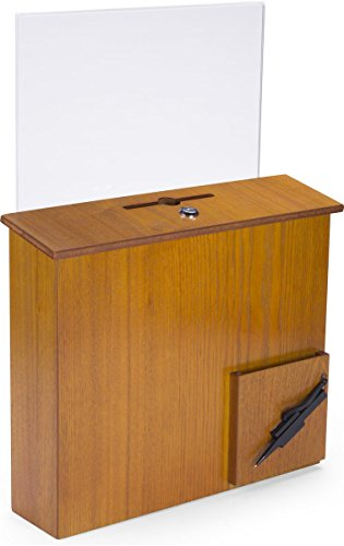 Displays2go Wood Suggestion Box with Hinged Locking Door - Pen, and Pocket, Wall Mount or Countertop Medium Oak (DBWACSHBMO)