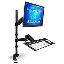 Mount-It! Sit-Stand Desk Mount Workstation, Height Adjustable, Ergonomic, Laptop and Keyboard Mount, 22, 23, 24, 27 Inch Monitors, Black (MI-7921)