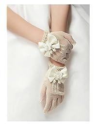 Flower Girls Gloves, Ivory Lace Net Voile Short Princess Bowknot Gloves for Wedding