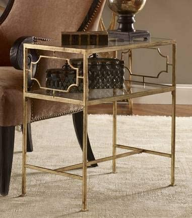 Uttermost Genell Gold Leafed Iron Glass Side Table - a good cheap living room table