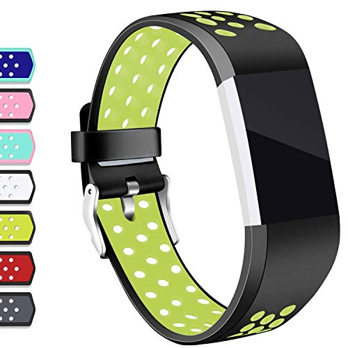 Hotodeal Compatible Fitbit Charge 2 Band, Classic Soft TPU Adjustable Replacement Accessory Bands Fitness Breathable Sport Strap Small Large Black Green