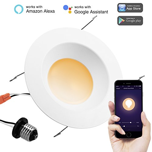 LOHAS 6 Inch Dimmable APP Control Smart LED Downlight, Wi-Fi Retrofit Light Tunable Warm to White Ambiance, 15W LED Equal to 80W Equivalent Traditional Down lights, Smart Recessed Lighting for Ceiling