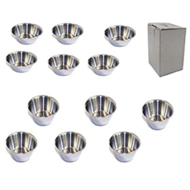 Set of 12 Polished Stainless Steel Portion Cups in 2.5 oz and 1.5 oz Size Combo
