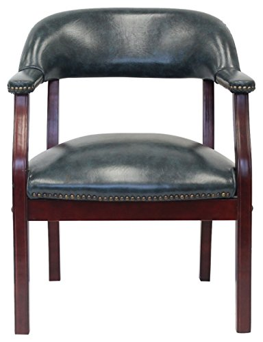(Boss Office Products B9540-BE Ivy Leauge Vinyl Executive Catain's Chair in Blue)