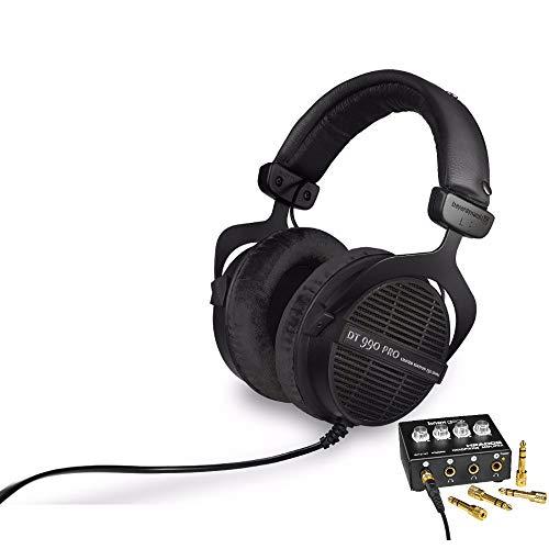 beyerdynamic DT 990 PRO 250 ohm Studio Headphones (Ninja Black, Limited Edition) with 4-Channel Headphone Amplifier