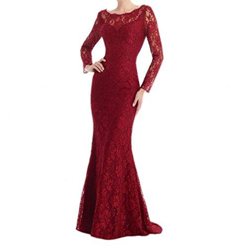 Braut Meerjungfrau Abendkleider Rot Lang Dunkel mia Promkleider Jugendweihe La Damen Kleider Spitze Fesltichkleider waFqWC