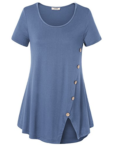 Vivilli Womens Tops for Summer, Women's Short Sleeve Split Hemline Casual T-Shirt Blouse Tops with Buttons (XX-Large, Blue (Women High Quality T-shirt)