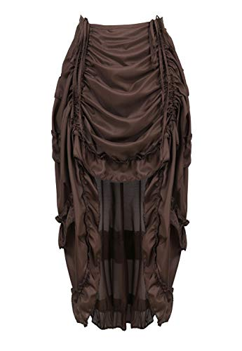 frawirshau Women's Steampunk Show Girl High Low Skirt with Ruffle Pirate Costume Brown M/L -