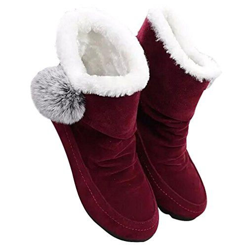 Clode® Womens Boots, Women Fashion Ankle Boots Flats Casual Shoes Warm Suede Shoes Comfortable Winter Snow Boot with Pom Pom Red