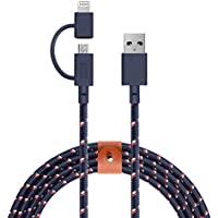 Native Union BELT Twin Head - 6.5ft Ultra-Strong Reinforced Charging Cable with Integrated 2-In-1 Adaptor for Apple Lightning and Micro-USB Devices (Nautical)