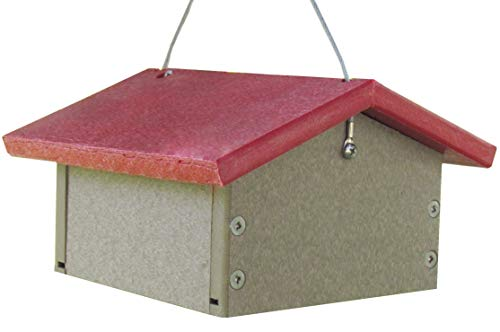 JCs Wildlife Recycled Upside Down Single Suet Feeder Lt. Brown W/Cardinal Red Roof