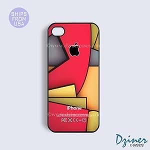 LJF phone case iphone 4/4s Case - Colorful Square Geometric Design iPhone Cover