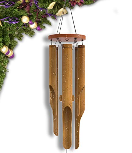 Nalulu Classic Wind Chime – Bamboo Wooden Wood Outdoor Medium & Relaxation Ready