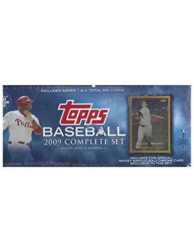(2009 TOPPS BASEBALL COMPLETE FACTORY SEALED SET 660 CARDS WITH 1957 EXCLUSIVE MICKEY MANTLE CHROME REFRACTOR CARD)