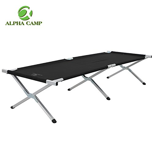 ALPHA CAMP Lightweight Camping Cots for Adults Oversize Folding Cot Bed Support 500 (1000 Chair Package)