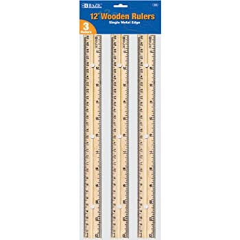 amazoncom bazic wooden ruler 12 inch 3 per pack