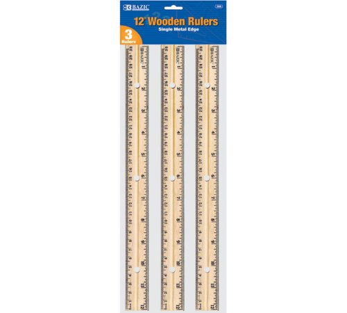 BAZIC Wooden Ruler, 12 Inch, 3 Per Pack